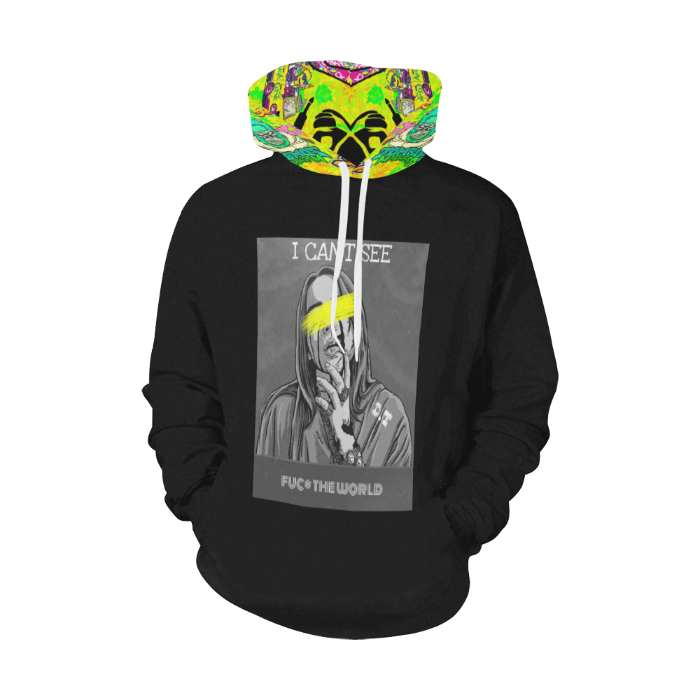 i cant see All Over Print Hoodie for Men (USA Size) (Model H13)