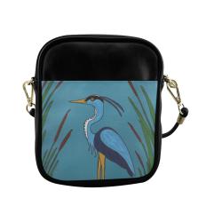Blue Heron in the Cattails Sling Bag (Model 1627)
