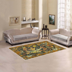 Japanese Dragon Gold, Copper, Brown Area Rug 5'x3'3''
