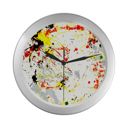 Black, Red, Yellow Paint Splatter Silver Color Wall Clock