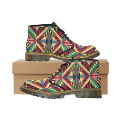 Modern Geometric Pattern Men's Nubuck Chukka Boots (Model 2402)