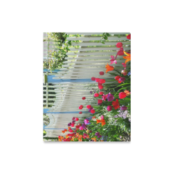 """Tulips Garden Along White Picket Fence photography canvas print Canvas Print 16""""x20"""""""