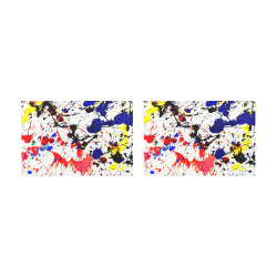 Blue & Red Paint Splatter Placemat 12'' x 18'' (Two Pieces)