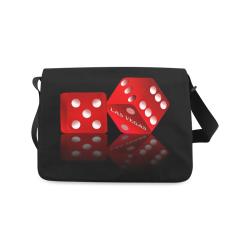 Las Vegas Craps Dice on Black Messenger Bag (Model 1628)