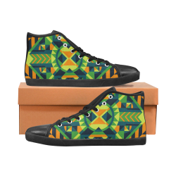Modern Geometric Pattern Men's High Top Canvas Shoes (Model 002)