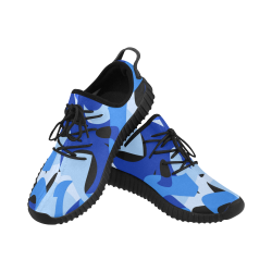 Camouflage Abstract Blue and Black Grus Women's Breathable Woven Running Shoes (Model 022)