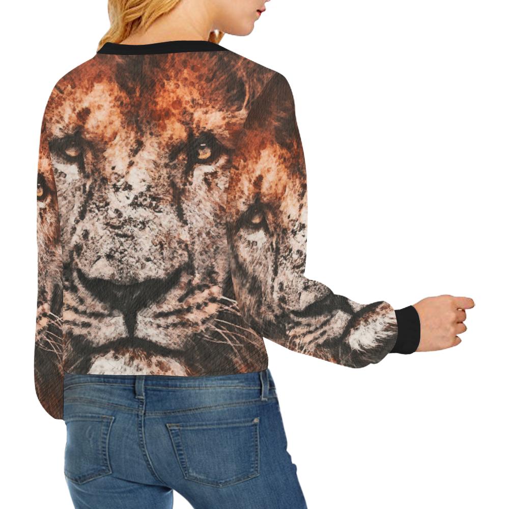 lion jbjart #lion Crop Pullover Sweatshirts for Women (Model H20)