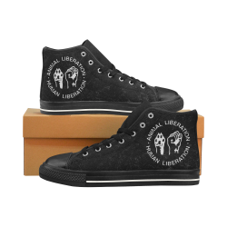 Animal Liberation, Human Liberation Men's Classic High Top Canvas Shoes /Large Size (Model 017)
