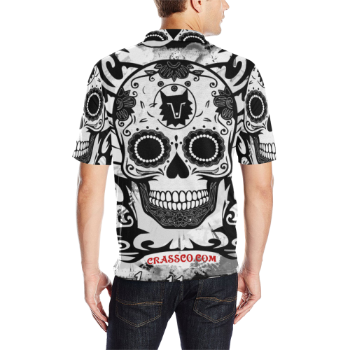 SKULL BLACKANDWHITE LUXURY POLO Men's All Over Print Polo Shirt (Model T55)