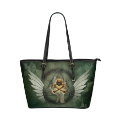 Skull in a hand Leather Tote Bag/Small (Model 1651)