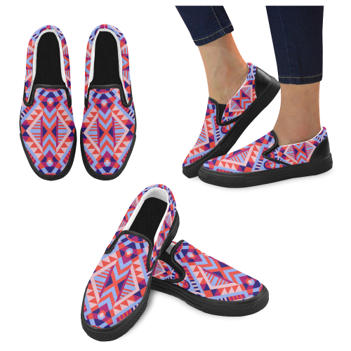 Modern Geometric Pattern Women's Slip-on Canvas Shoes (Model 019)