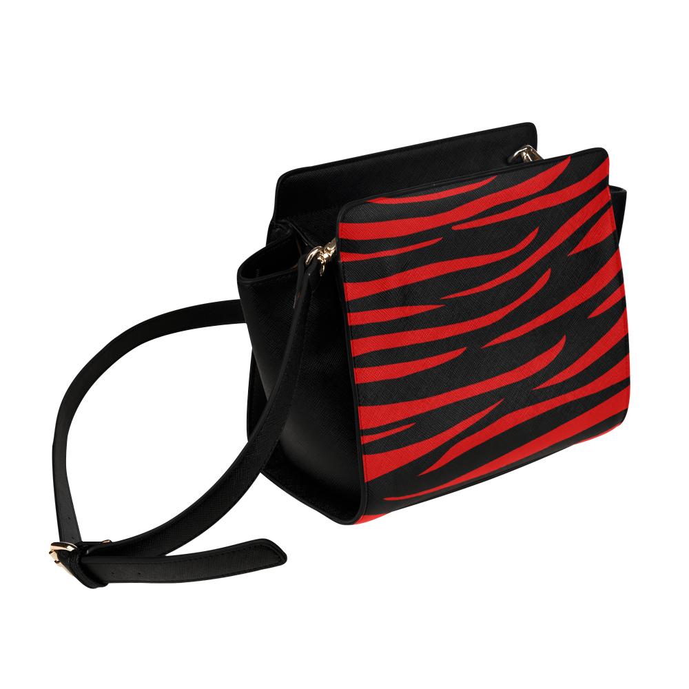 Tiger Stripes Black and Red Satchel Bag (Model 1635)