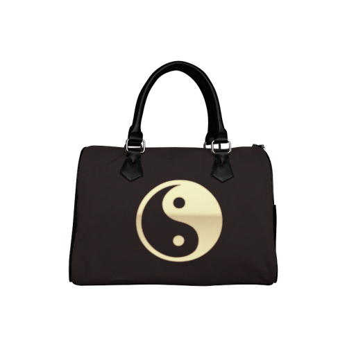 Women's Boston Leather Handbag - Gold Metallic Yin Yang Traditional Leather Boston Handbag (Model 1621)