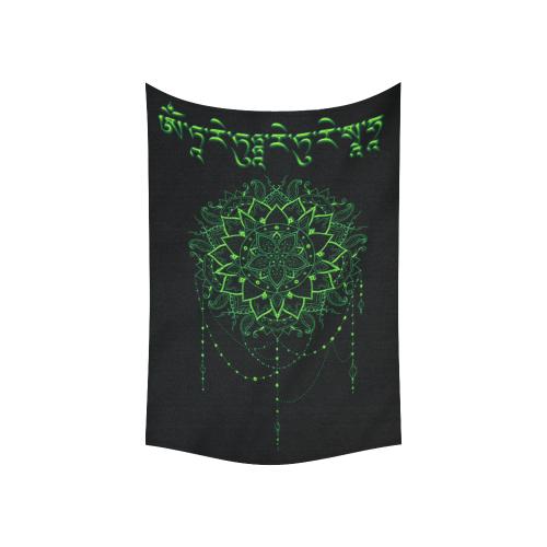 "Green Tara Mantra Cotton Linen Wall Tapestry 60""x 40"""