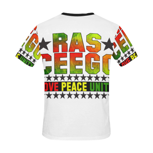 Ras CeeGo White All Over Print T-Shirt for Men/Large Size (USA Size) Model T40)
