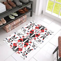 """Creative geometric red and black design by FlipStylez Designs azalea doormat 30_x_18 Azalea Doormat 30"""" x 18"""" (Sponge Material)"""