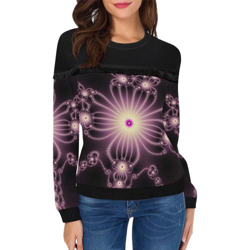 Pink Flower Bloom Women's Fringe Detail Sweatshirt (Model H28)