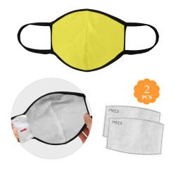Yummy Lily Yellow Solid Color 3D Mouth Mask (2 Filters Included) (Model M03)