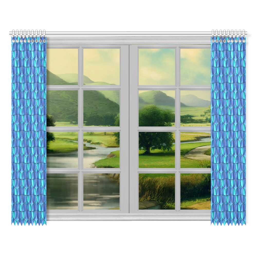 """Blue shades abstract Window Curtain 52""""x84""""(Two Pieces)"""