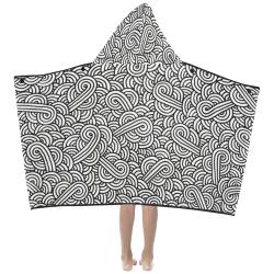 Black and white swirls doodles Kids' Hooded Bath Towels