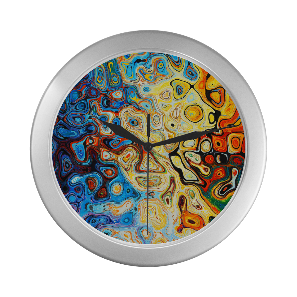 Silver Frame Wall Clock Classic Graphic Style Modern Art Wall Clock Silver Color Wall Clock