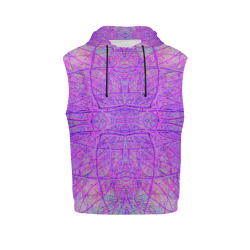 Hot Pink and Purple Abstract Branch Pattern All Over Print Sleeveless Hoodie for Women (Model H15)