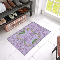 "fauna flowers in gold and fern ornate Azalea Doormat 24"" x 16"" (Sponge Material)"