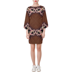 Copper and Pink Hearts Lace Fractal Abstract Bell Sleeve Dress (Model D52)