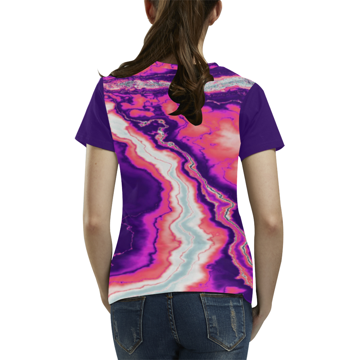 Pink and Purple Geode All Over Print T-Shirt for Women (USA Size) (Model T40)