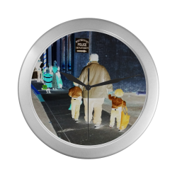 Ghosts roaming the street (silver) Silver Color Wall Clock