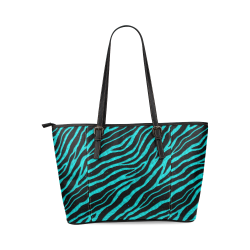 Ripped SpaceTime Stripes - Cyan Leather Tote Bag/Large (Model 1640)