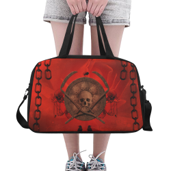 Skulls on red vintage background Fitness Handbag (Model 1671)