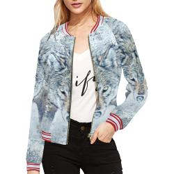 Snow Wolf All Over Print Bomber Jacket for Women (Model H21)