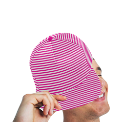 Pink and White Stripes All Over Print Snapback Hat A