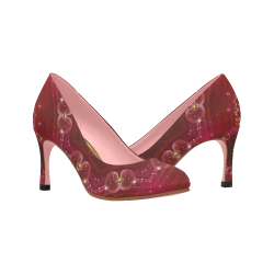 Love and Romance Glittering Ruby and Diamond Heart Women's High Heels (Model 048)