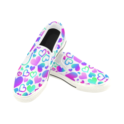 Corazones-multicolores Women's Slip-on Canvas Shoes (Model 019)