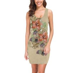 leather flower on creame suede Medea Vest Dress (Model D06)