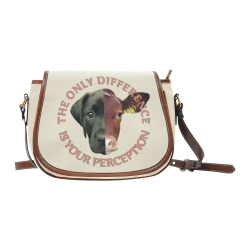Vegan Cow and Dog Design with Slogan Saddle Bag/Large (Model 1649)