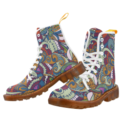 Seamless floral abstract hand-drawn waves pattern Martin Boots For Women Model 1203H