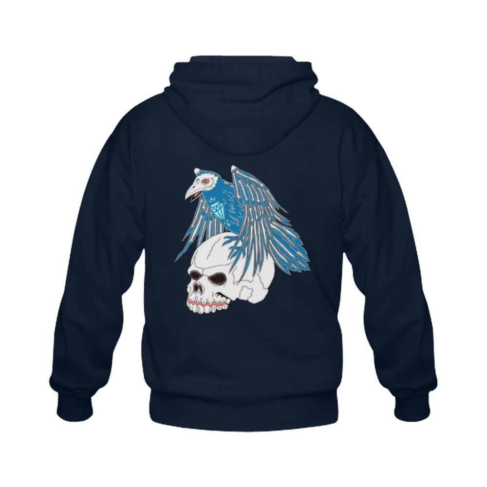 Raven Sugar Skull Royal Blue Gildan Full Zip Hooded Sweatshirt (Model H02)