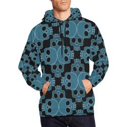 skull jigsaw blue All Over Print Hoodie for Men (USA Size) (Model H13)