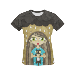 We Love Rain All Over Print T-Shirt for Women (USA Size) (Model T40)