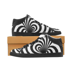 Optical Illusion Warped Black Hole (Black/White) Men's Chukka Canvas Shoes (Model 003)