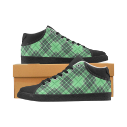 STRIPES LIGHT GREEN Women's Chukka Canvas Shoes (Model 003)