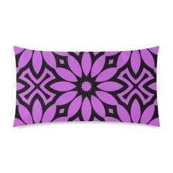 "Purple/Black Flowery Pattern Rectangle Pillow Case 20""x36""(Twin Sides)"