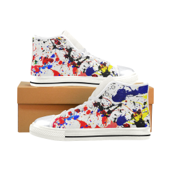 Blue & Red Paint Splatter - White High Top Canvas Shoes for Kid (Model 017)