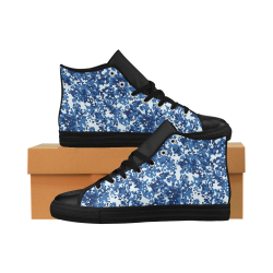 Digital Blue Camouflage Aquila High Top Microfiber Leather Women's Shoes (Model 027)