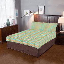 Elequent French Blue Orange Multi 3-Piece Bedding Set