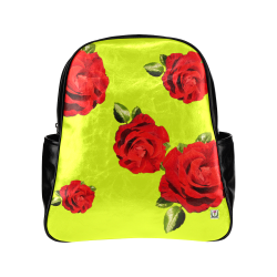 Fairlings Delight's Floral Luxury Collection- Red Rose Multi-Pockets Backpack 53086b13 Multi-Pockets Backpack (Model 1636)