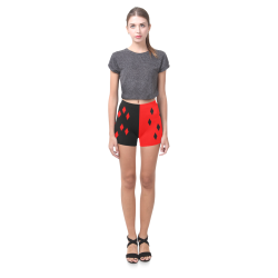 Red & Black Harlequin Briseis Skinny Shorts (Model L04)